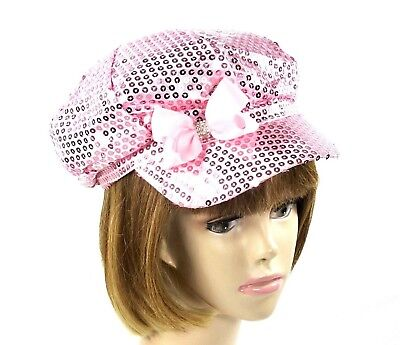 Pink Satin Sewn Sequin Newsboy Hat Cap Fully Lined Bow Rhinestones Red Hat Lady - Red Sequin Hat