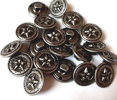 10 Vintage Round Silvertone Metal Star Design Shank Buttons