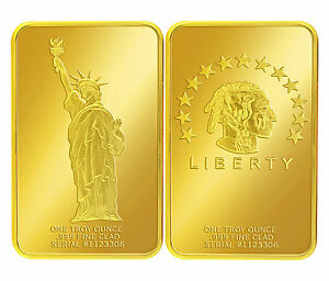 1-TROY-Oz-24k-999-FINE-GOLD-CLAD-STATUE-OF-LIBERTY-AMERICAN-INDIAN-ART-BAR