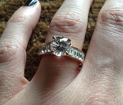 Free Shipping Large Solitaire Cz Fashion Costume Ring Yellow Gold Size 7 8 Bling