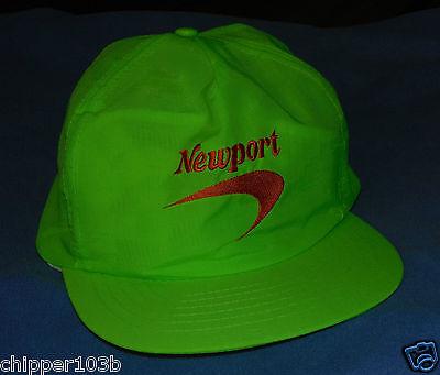 VINTAGE NEWPORT CIGARETTES  NEON GREEN ADJUSTABLE HAT  - 1991 - NOS