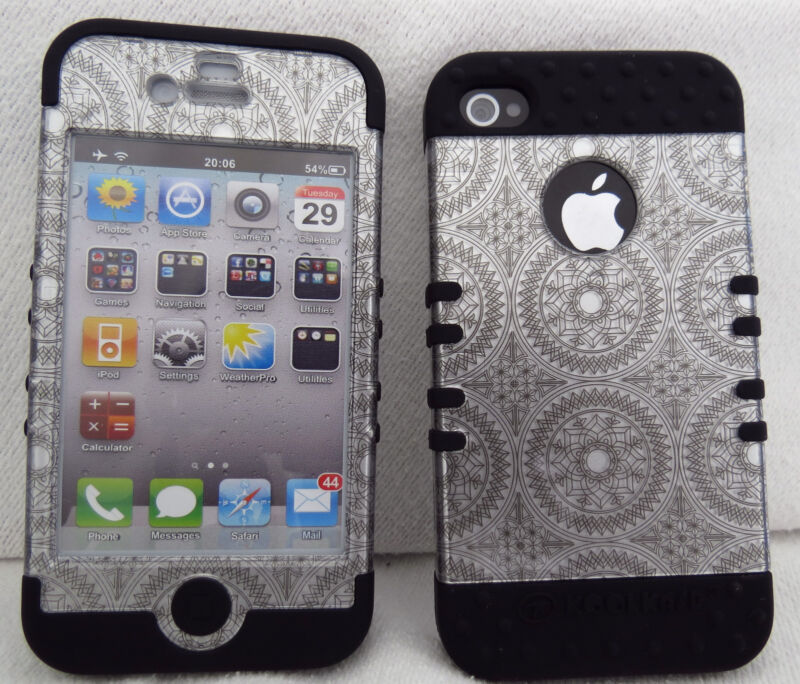 Hybrid Impact Hard Cover Case + Apple iPhone 4 4S Silver Circular on Black Skin