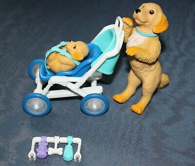 2003 Barbie Posh Pets - Momma Dog Pushing Puppy in Stroller