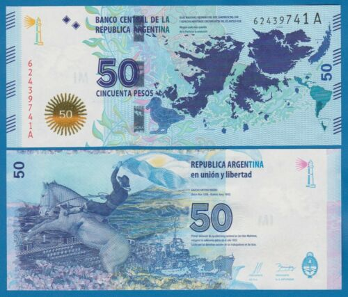 "Argentina 50 Pesos P 362 ND 2015 UNC Serie ""A"" Low Shipping! Combine FREE! 362a"