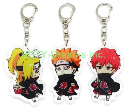 Set of 3 Naruto Anime Acrylic Keychain Akatsuki Deidara, Sasori, Pain