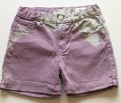 GAP KIDS 1969 Girls SHORTS Sz 10 Purple Tye Dye Denim Cuffed / Adj. Waist *GG