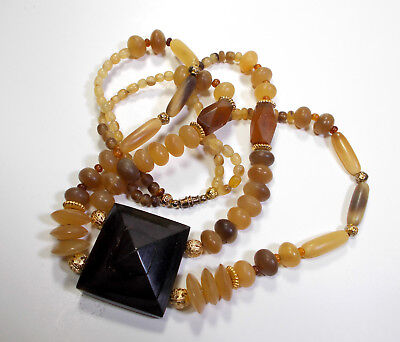 - Carabao & Antelope Horn Amber Beads Necklace 143 Handcrafted Artisan Beads