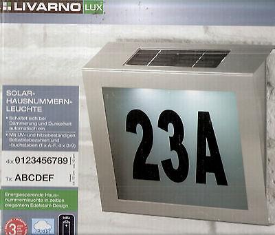 LIVARNO Solar Hausnummernleuchte Hausnummer Leuchte Edelstahl superweiße LEDs