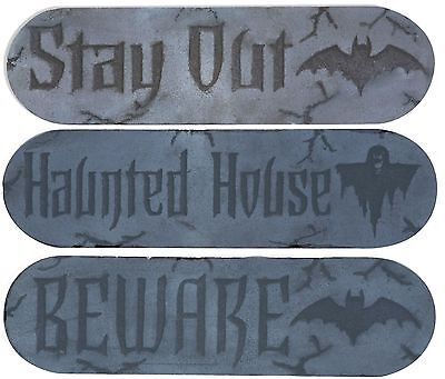 (3) Hanging Halloween Signs Plaque BEWARE STAY OUT HAUNTED HOUSE Sign Plaques - Beware Halloween Signs