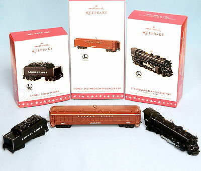 2016 HALLMARK KEEPSAKE ORNAMENT LIONEL SET of 3 HUDSON LOCOMOTIVE,MADISON,TENDER