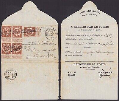 Belgique Belgium 1913 Service mail MORLANWELZ AVIS D'ENCAISSEMENT to Bxl...A5544