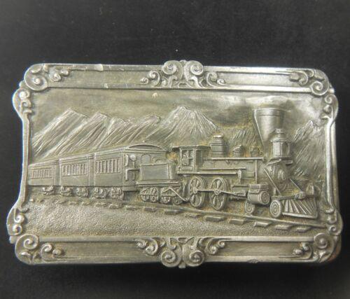 Vintage 1984 4-4-0 Steam Train Locomotive Siskiyou Pewter Belt Buckle Railroad