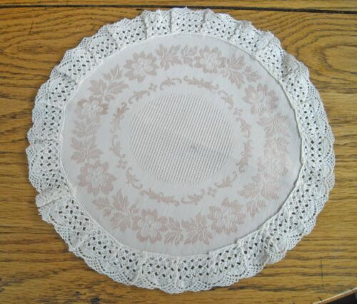 "Vintage Pink Floral Silk Table Scarf Off-White Embroidered Border ~ 11""  Round ~"