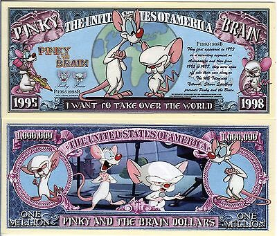 Pinky & the Brain-Warner Brothers Cartoon Character Million Dollar Novelty Money