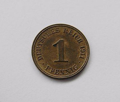 KAISERREICH: 1 Pfennig 1911 J, J. 10, stempelglanz, TOLLER MÜNZGLANZ !!!