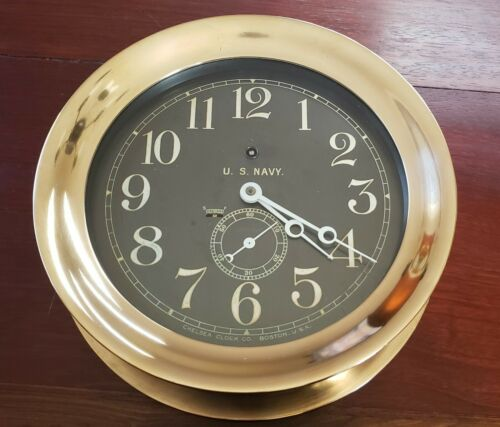 "Chelsea  8.5"" black engraved brass dial US Navy ships clock w Key"