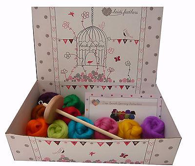 Heidifeathers® Drop Spinning Starter Kit - Merino Wool + Spindle