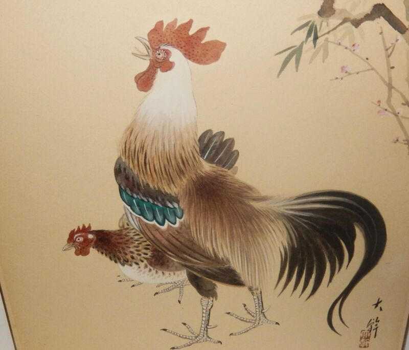 ROOSTERS AND BLOSSOMS ORIGINAL WATERCOLOR PAINTING SIGNED