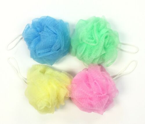 Pack of 4 Bath Shower Puff Sponge Loofah Mesh Ball Brush Body Scrubber