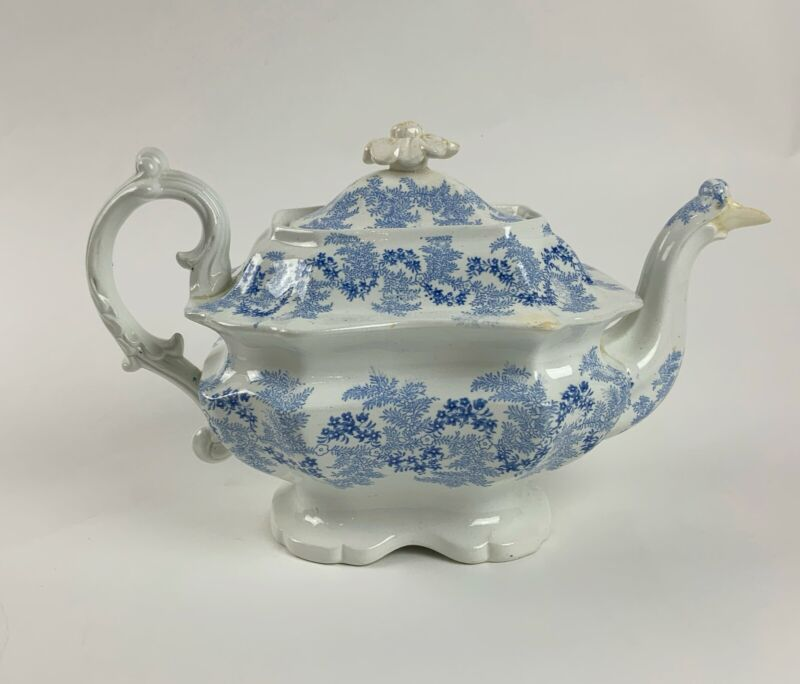 ANTIQUE Staffordshire porcelain blue & white teapot Canadian