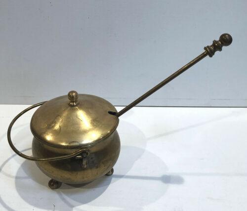 Vintage Brass Fireplace Starter Cauldron Style Pot With Pumice Wand FAST SHIP