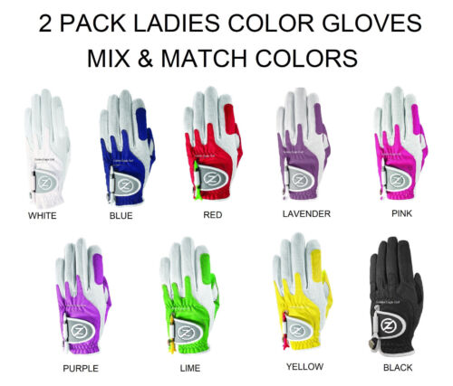 Ladies 2 Pk Zero Friction Compression-Fit Golf Glove 9 Colors One Size Fits All