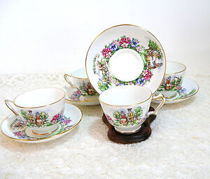 Evangeline-039-s-Acadian-Garden-Crown-Staffordshire-Cups-And-Saucers-Set-Of-Four