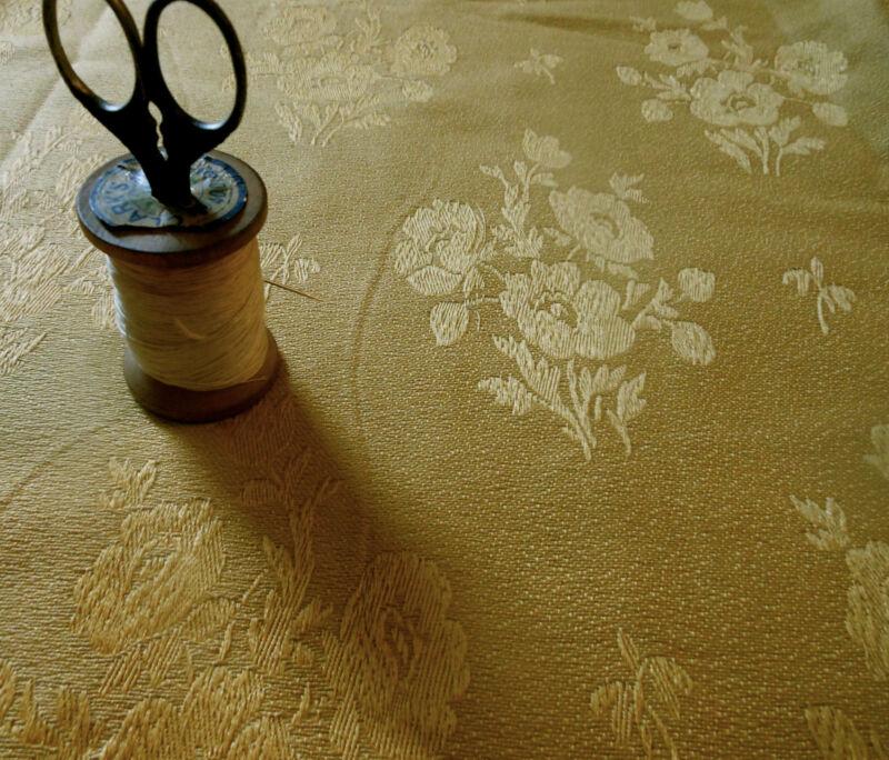 Antique Vtg. English Jacquard Damask Poppy Fabric~ Gold ~ Upholstery Pillows