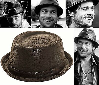 Leather Look Hat Trilby Pork Pie Fedora Gangster PVC Black Ladies Mens Boys](Boys Black Fedora)
