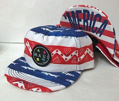 adult MAUI&SONS RETRO FLIP-UP BRIM HAT red white blue 'MERICA vtg 90s - Flip Brim Hat