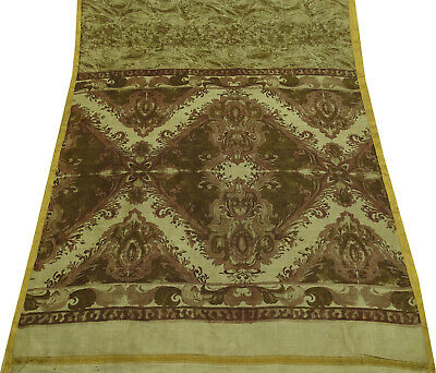 Pure Silk Tie Dye Printed Olive Saree Vintage Dress Making Fabric Sari.-PS58221