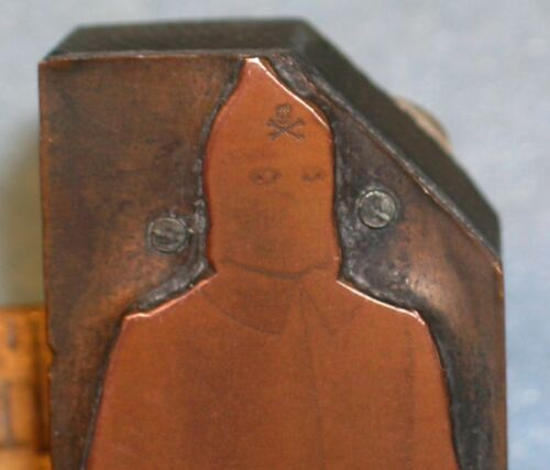 "Antique MASONIC HOODED ROBE w/ SKULL & BONES * 3"" Copper Printing Block"