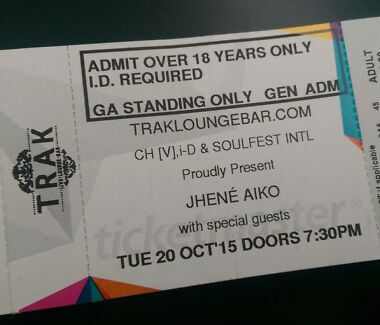 1 x Jhene Aiko Melbourne TRAK Lounge Ticket  Berwick Casey Area Preview