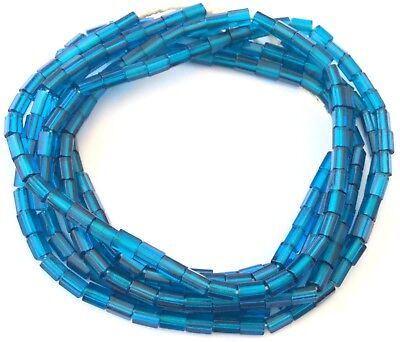 -  Fine Vintage Czech Russian cut Teal Blue Faceted Glass African Trade beads