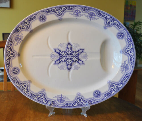"Huge Antique Ironstone Transferware Well Tree Platter Staffordshire Alhambra 22"""