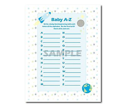 Blue Space and Rocket Boy 6 Printable Shower Games Baby Scramble, Purse Game