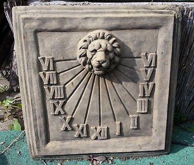 Sonnenuhr Platte Löwe Löwen Antik Sandstein Look Steinguß Wandbild C 03 GRAU