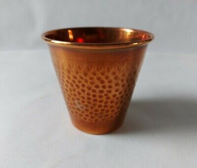 Vintage Small Copper Pot / Planter Hand Planished / Hammered 8cm Tall