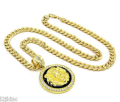 Black Vermeil Pendant - Mens Gold Plated with Black Lion Face Iced Out Pendant 30