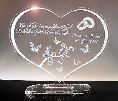 Zur Hochzeit Hochzeitstag Acrylglas Schild Herz, Geschenk