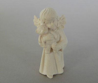 Engel mit Teddybär ca. 4 cm hoch,Holz geschnitzt natur,Weihnachtspyramide 410-04