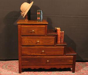 meuble escalier en ch taignier ancien 4 tiroirs biblioth que m tier commode ebay. Black Bedroom Furniture Sets. Home Design Ideas