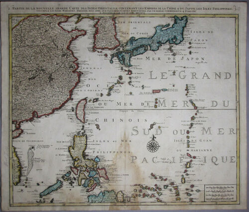 "A Very Rare Authentic Korean Map of Korea with ""Sea of Coree""(한국해협)-18th C"