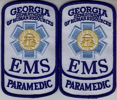 Georgia EMS PARAMEDIC 2 patches/1pair GA Dept of Human Resources