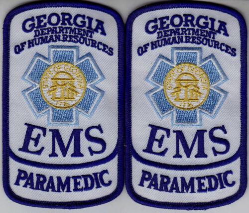 Georgia EMS PARAMEDIC 2 patches/1pair GA Dept of Human Resources