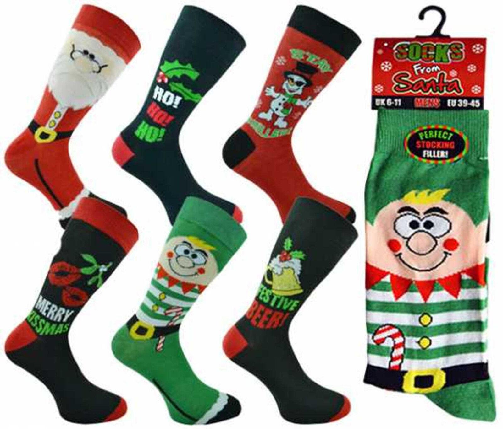 3 Pairs Gents Socks From Santa Festive Christmas Cotton Rich Novelty Xmas Socks