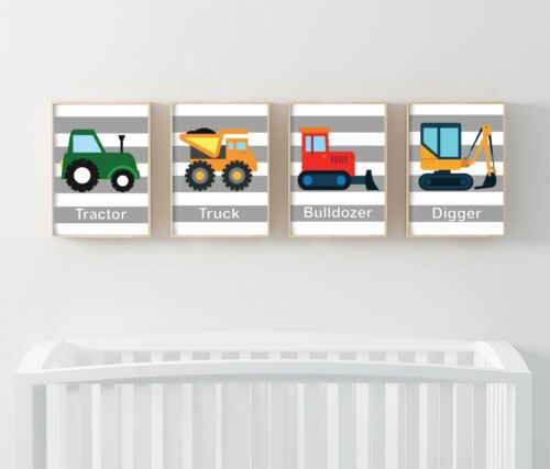 Nursery Vehicle Theme Print set of 4 Picture Truck Digger Tractor Bulldozer