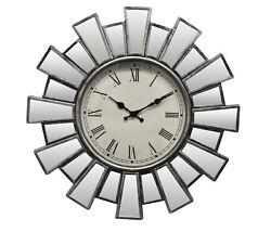 Round Silver Mirror Sunburst Wall Clock Roman Numerals Battery Operated Elegant