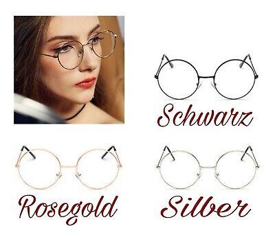 Klare Rund Vintage Brille Klarglas Oversize Unisex Modern Nickelbrille Nerd Süß