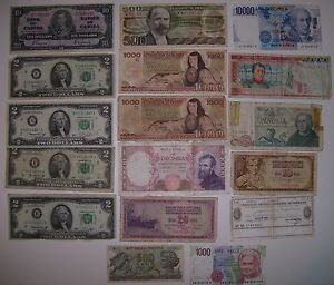 REDUCED 17 Assorted Canadian USA,Italian Mexican paper currency, Cornwall Ontario image 1